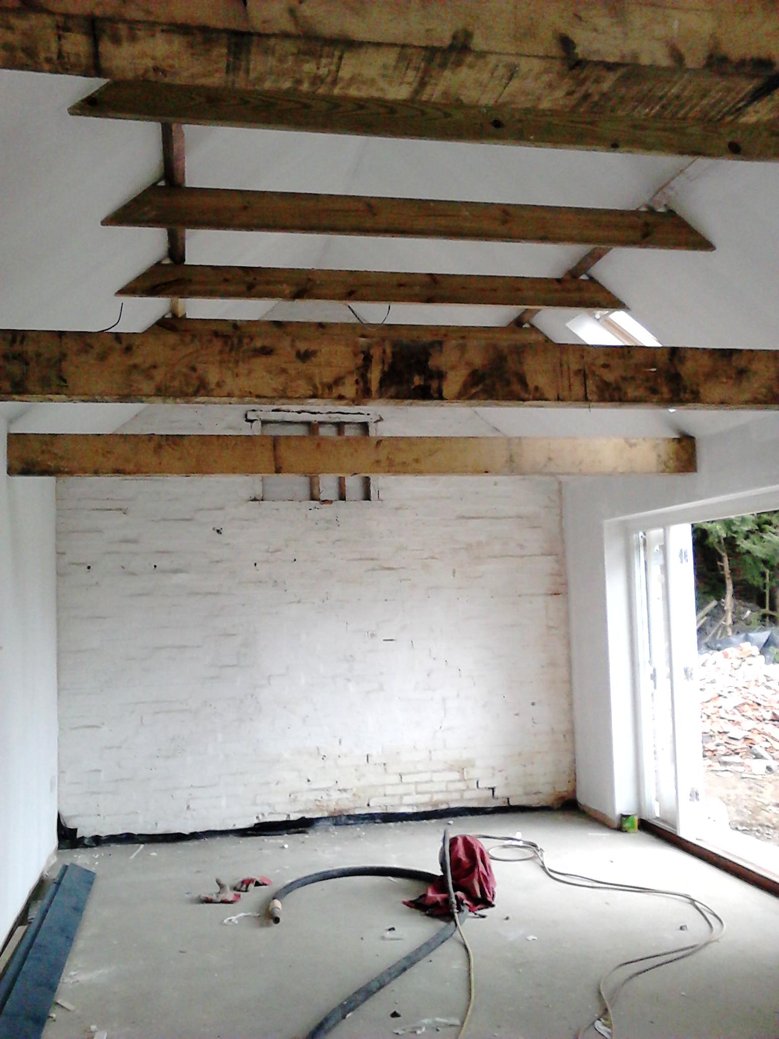Softwood Beams Brickwork Before - Brickwork & Stone